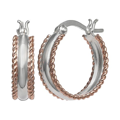 PRIMROSE Two-Tone Roped Hoop Earrings