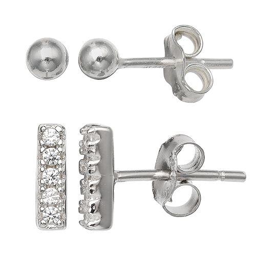PRIMROSE Sterling Silver Bar & Ball Earring Set