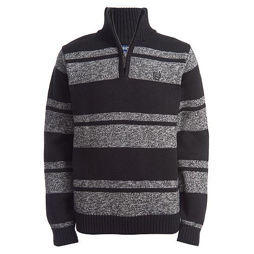 Boys 4-20 Chaps Striped Quarter-Zip Sweater