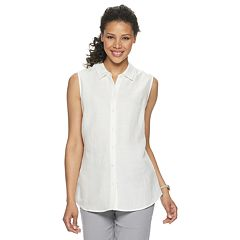 3d196fe5b29f09 Womens White Button Down Sleeveless Shirts & Blouses - Tops ...