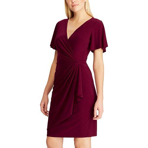 Women's Chaps Flutter Sleeve Faux-Wrap Dress
