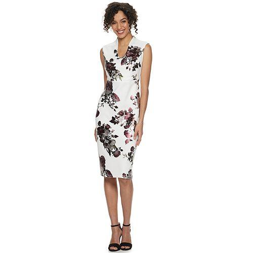 Women's Nina Leonard Foiled Floral Scuba Dress