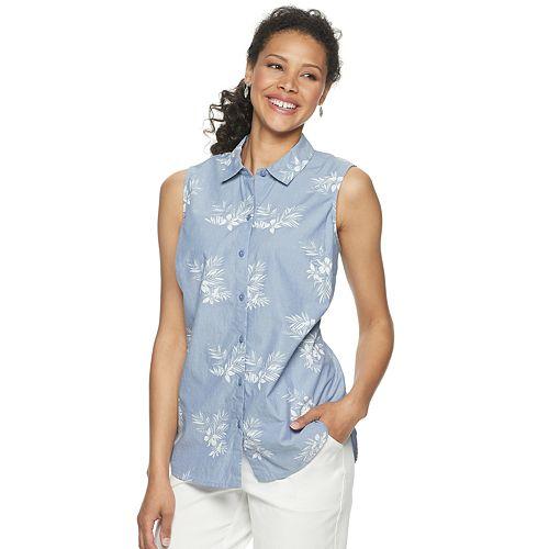 Petite Croft & Barrow® Linen-Blend Sleeveless Shirt