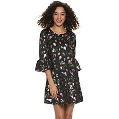 82e013419a9 Women s Nina Leonard Jacquard Print Bell-Sleeve Dress