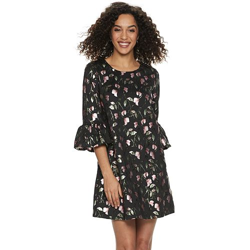 82e013419a9 Women s Nina Leonard Jacquard Print Bell-Sleeve Dress