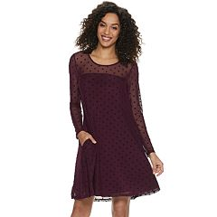 Women's Nina Leonard Flocked Dot A-Line Dress