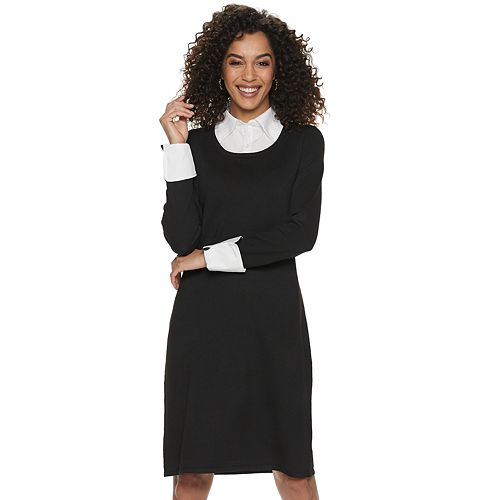 Women's Nina Leonard Mock-Layer Sweater Dress