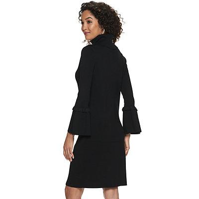 Women's Nina Leonard Bell-Sleeve Turtleneck Sweater Dress
