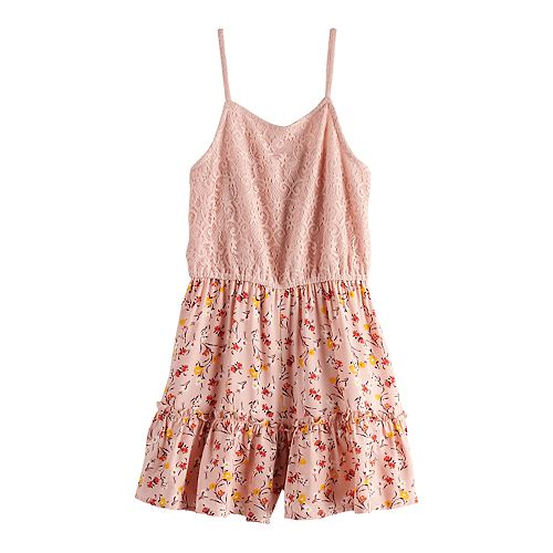 Girls Four Threads Lace to Printed Woven Ruffle Romper