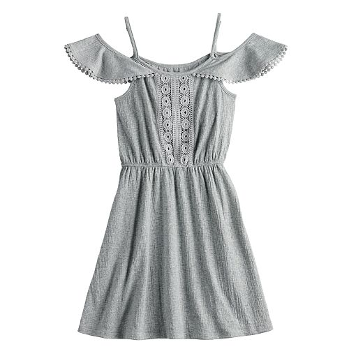 Girls Mudd® Crinckle Knit Cold Shoulder Dress