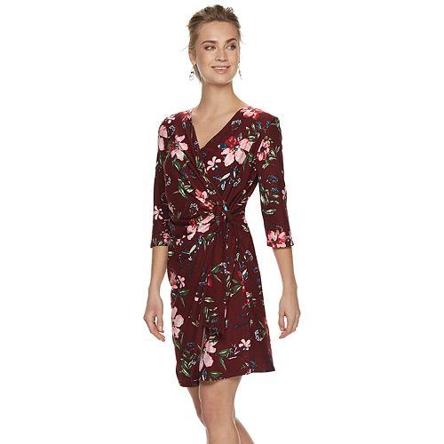 Women's Nina Leonard Floral Wrap Dress