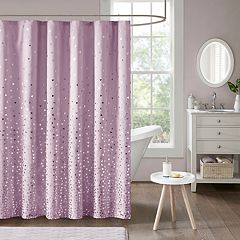 Intelligent Design Liv Metallic Printed Shower Curtain Blush Purple
