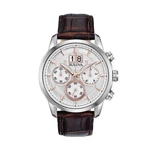 Bulova Men's Leather Chronograph Watch - 96B309