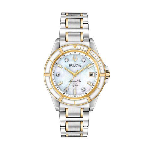 Bulova Women's Marine Star Two Tone Stainless Steel Diamond Accent Watch - 98P186