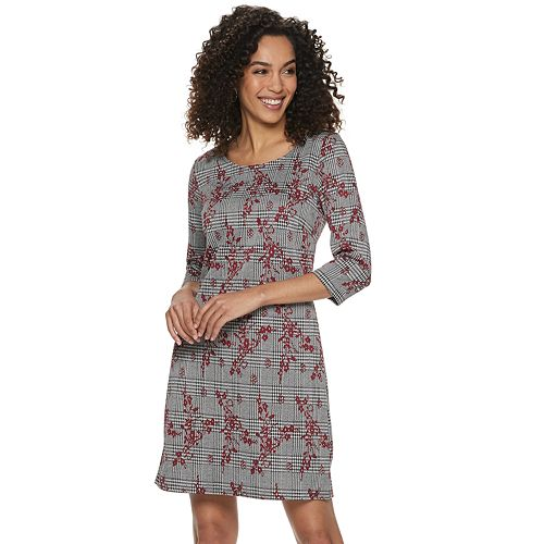 Women's Nina Leonard Floral Plaid Sheath Dress
