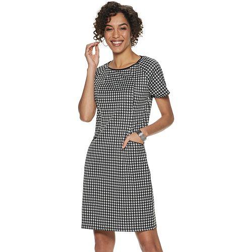 Women's Nina Leonard Checked Sheath Dress