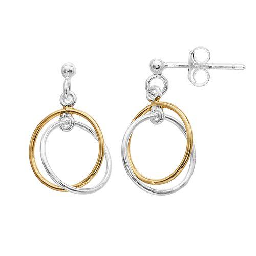 Primavera Two-Tone 24k Gold over Silver Double Hoop Earrings