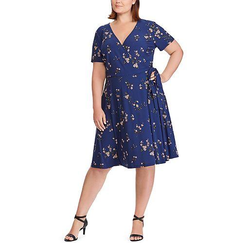 Plus Size Chaps Floral Faux-Wrap Dress