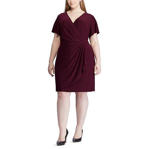 Plus Size Chaps Gathered Surplice Faux-Wrap Dress