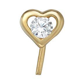14k Gold Cubic Zirconia Heart Nose Stud