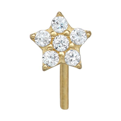 14k Cubic Zirconia Gold Star Nose Stud