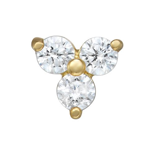 14k Gold Cubic Zirconia 3-Stone Belly Stud