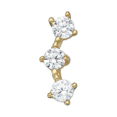 10k Gold Cubic Zirconia 3-Stone Belly Stud