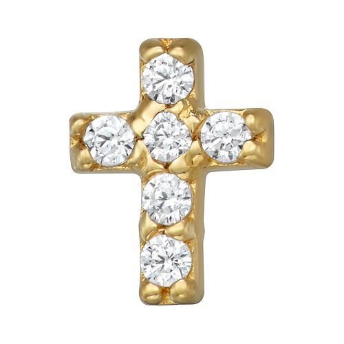 14k Gold Cubic Zirconia Cross Belly Stud