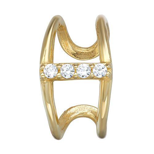 14k Gold Cubic Zirconia Double Row Ear Cuff