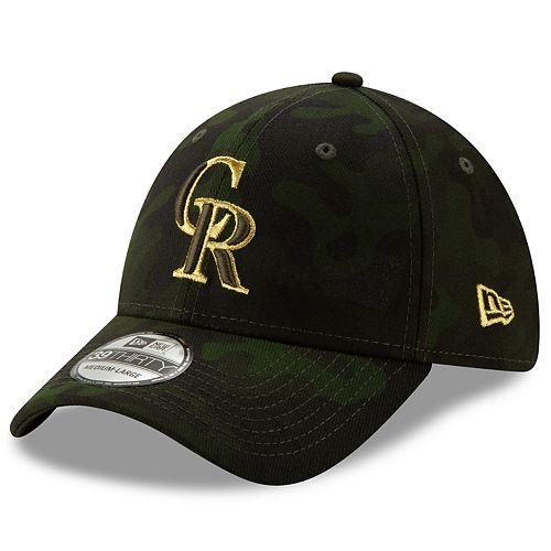 Adult New Era Colorado Rockies New Era 2019 MLB Armed Forces Day 39thirty Flex Cap - Camo