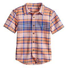 Boys 4-12 SONOMA Goods for Life™ Plaid Pocket Button Down Shirt