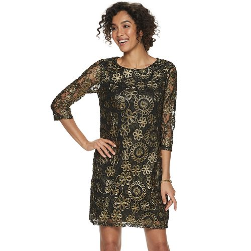Women's Nina Leonard Foiled Lace Sheath Dress