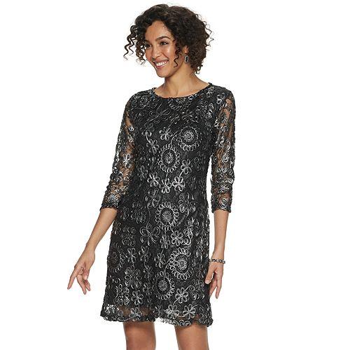 Women's Nina Leonard Foiled Lace Sheath Dress