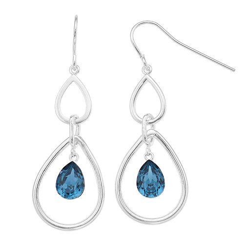 Brilliance Blue Drop Earrings with Swarovski Crystals
