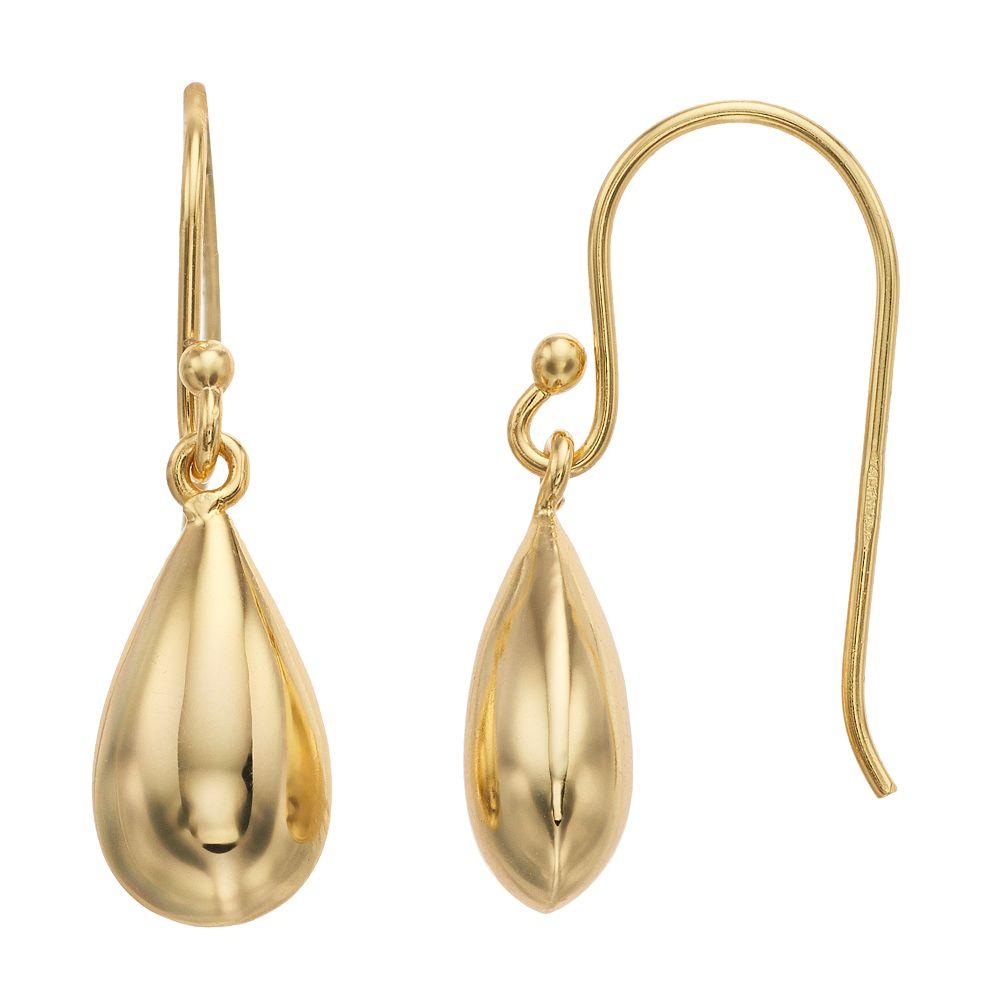 Primavera 24k Gold Over Silver Teardrop Earrings