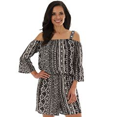4c0b7a7790 Women's Apt. 9® Peasant Off Shoulder 3/4 Sleeve Romper. Mustard Floral Black  Medallion Animal