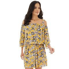 696e63f897c Women's Apt. 9® Peasant Off Shoulder 3/4 Sleeve Romper. Mustard Floral  Black Medallion Animal