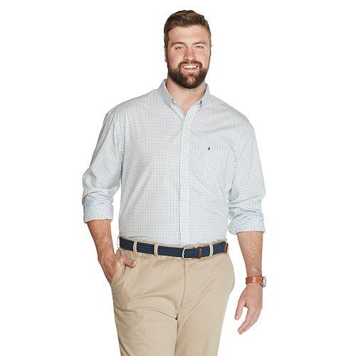 Big & Tall IZOD Premium Essentials Stretch Tattersall Button-Down Shirt