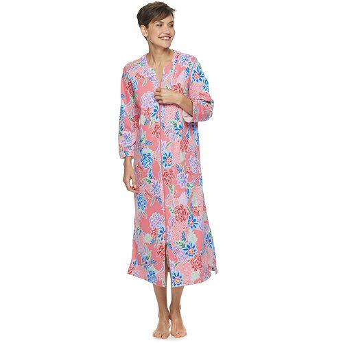 Women's Miss Elaine Essentials Long Zipper Print Robe