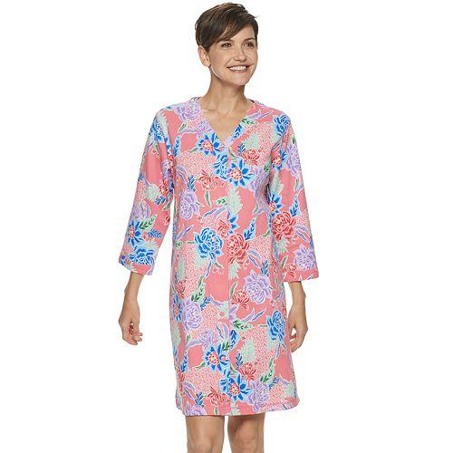 Women's Miss Elaine Essentials Short Interlock Knit Snap Robe