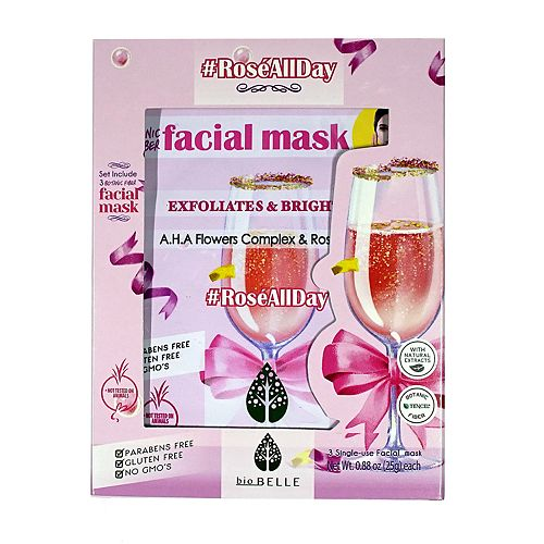 bioBELLE Rose All Day 3-Piece Facial Mask Set