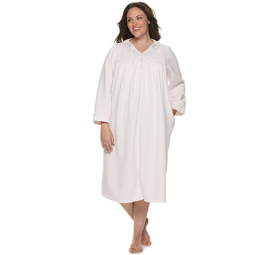 Plus Size Miss Elaine Essentials Brushed Back Terry Long Robe