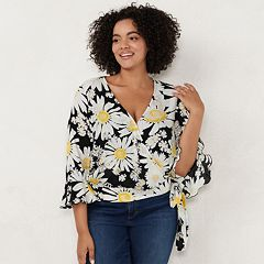 Plus Size LC Lauren Conrad Daisy Wrap Top