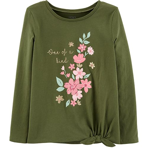 Girls 4-14 Carter's Glitter Floral Tie-Front Tee