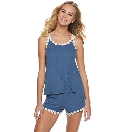 Juniors' PJ Couture Daisy Short Pajama Set