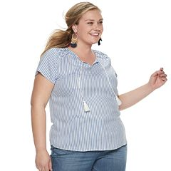 NEW! Plus Size EVRI Ruffle Yoke Splitneck Top