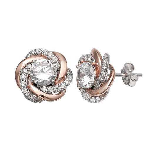 PRIMROSE Two-Tone Sterling Silver & 18k Rose Gold Cubic Zirconia Knot Stud Earrings