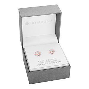 PRIMROSE Two-Tone Sterling Silver & 18k Rose Gold Cubic Zirconia Knot Stud Earrings