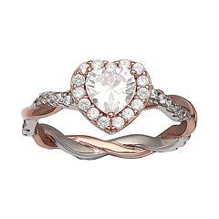 PRIMROSE Two-Tone Cubic Zirconia Heart Ring