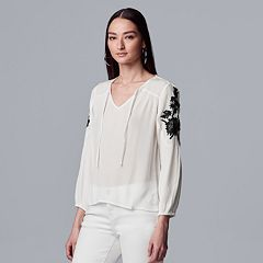5342a8535386 Petite Simply Vera Vera Wang Floral Embroidery Peasant Top